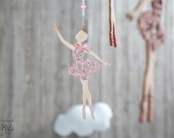 Ballerina Baby Mobile, Baby Mobile Girl, Wooden Ballerinas, Pink Baby Mobile, Ballerina Nursery Mobile, Baby Mobiles, Baby Mobile