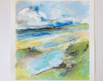 Landscape painting, Beach, Abstract painting, Contemporary Art, Hamptons, Decor, Sea, green, blue, expressive, acrylic, landscape, cape