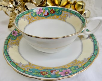 Court China (William Lowe) Tea Cup and Saucer, Art Deco Pattern, Floral on Green, 1920s