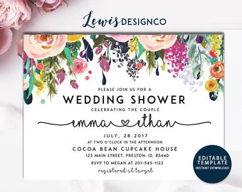 Wedding Shower Invitation | Floral Bridal Shower Card | Couples Shower Invite | Editable Card Print Yourself Instant Download