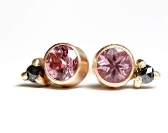 Pink Garnet and Rose Cut Black Diamond Studs in 14k Gold - Brushed Modern Finish - Bezel Set Gemstone Posts - Faceted Blush Pink Earring