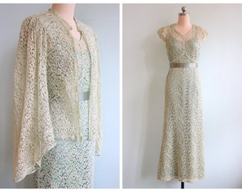 Vintage 1930s Mint Green Lace Dress and Jacket | Size Small