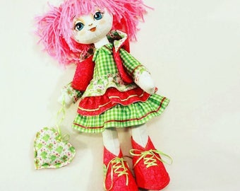 """Doll Making Kit, Set for sewing doll, Textile doll """"Pretty girl"""", Set for textile doll, Handmade doll, Sewing kit"""