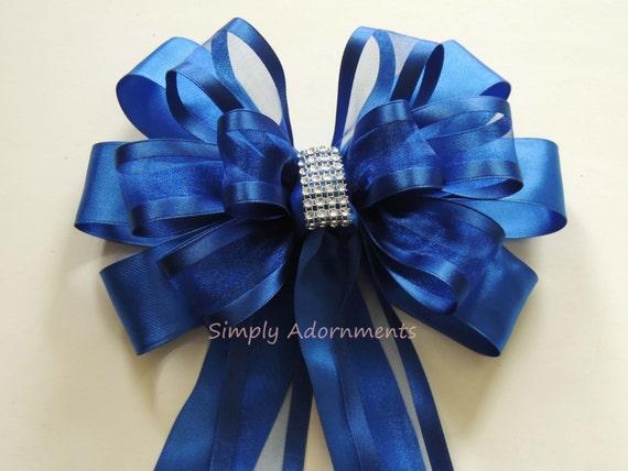 Royal Blue Wedding pew Bow Blue Wedding Church Aisle Decoration Cobalt Ceremony Chair Bow Cobalt blue Wedding Church Aisle Ceremony Bow