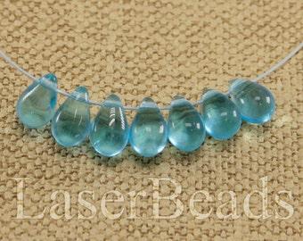 Teardrop beads 30pc 9mm Blue tear drops Czech glass teardrop beads Sky blue beads Tear drop beads Blue teardrops Small top drilled last