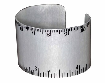 Aluminum Ruler Geekery Bracelet - inches and mm - Silver Unique Wide Aluminum Geek Cuff Jewelry