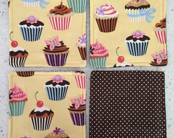 Drink Coasters - Set of 4 - Cupcakes on Yellow With Brown Dots