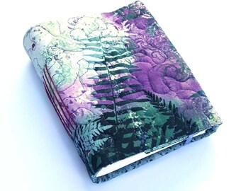 Fern Forest Wrap Journal, purple and teal, 5 x 7, Design Sample Sale