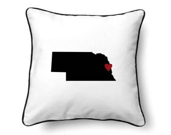 Nebraska Pillow - Nebraska Gift - Nebraska Map - NE State Map
