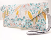Grey Aqua Yellow Peacocks Print Envelope Style Clutch Purse