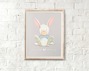 Printable Art Print - Cute - Bunny illustration - Nursery decoration