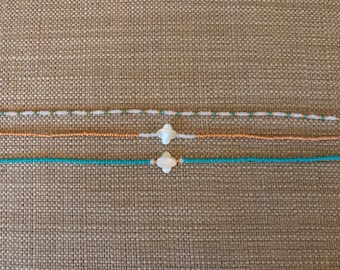 Teal, gold and white choker set!