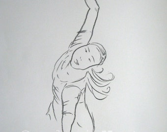 original charcoal drawing  - dancer - europeanstreetteam