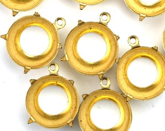 Prong Settings Round Raw Brass 15mm 60SS Open Back 1 Ring (6) FI784