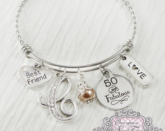 Best Friend Birthday Gift, 50th Birthday Gifts for Women, Birthday Jewelry, 50 and Fabulous, Friendship Bracelet, Friend,Personalized Bangle