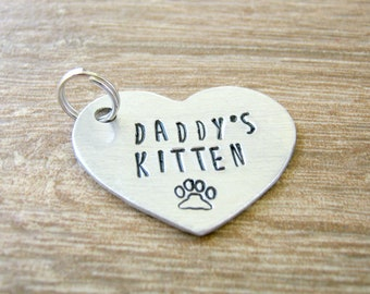 Daddy's Kitten Tag, Daddy's Kitten Heart Tag, Daddy's Kitten Collar Tag, Pet Play, 1.25 inch heart, customize text, aluminum heart, DDlg