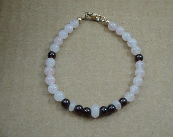 Natural Garnet and Rose Quart 7 1/4 inch Bracelet Item #65