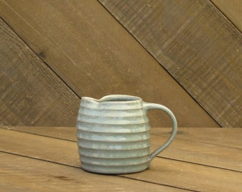 Small Pitcher - Creamer - Ceramic Pitcher - Striped - Green Celadon - Wheel Thrown - Reduction - Go Play Clay - Guiliotis - Made to Order