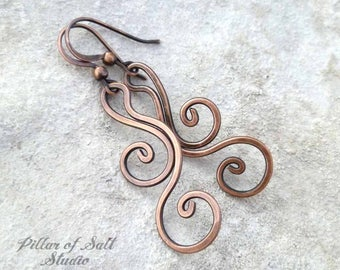 Solid copper earrings - Wire wrapped earrings - wire wrapped jewelry handmade - wire jewelry - earthy rustic copper dangle flourish spiral