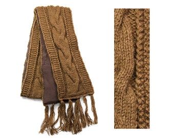 Wool Scarf, Hand Knit Wool Scarf, Winter Scarf - Brown Cable Knit - 2601N