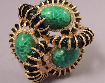 MIMI Di N Brooch, Vintage Green Peking Glass and Black Mimi Di N Brooch, Mimi Di N Couture Brooch, Mimi Di N Jewelry, A Place of Distinction