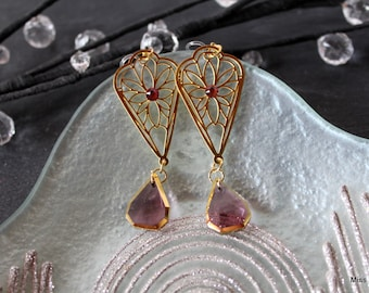Gold plated, invisible, violet purple glass dangle clip earrings
