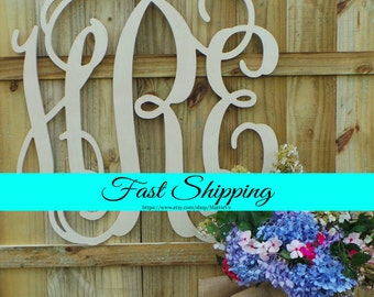 Wooden Monogram - 24 Inch - Unfinished Vine Script Monogram - Wedding Guest Book - Monogram Door Hanger - Nursery Monogram