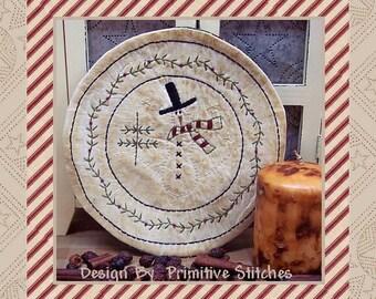 Snowman Hill Candle Mat-Primitive Stitchery E-PATTERN-Instant Download