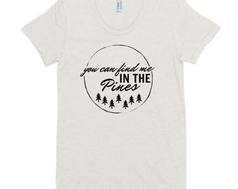Camping Hiking Adventure Camp Pines Pine Tree Women's Crew Neck T-shirt