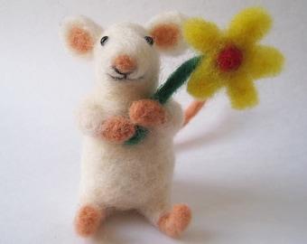 Mouse blossom, needle felted animal fiber art