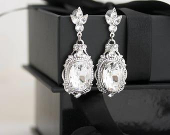 Bridal Earrings Large Crystal Wedding Earrings Silver Wedding Jewelry Swarovski Crystal Rhinestone RYAN