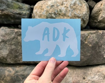 ADK in Bear Silhouette Decal / Adk Silhouette Decal  / Hiking Decal / Camping / Mountain Sticker / Adk Decal / Adk Sticker / Bear Sticker