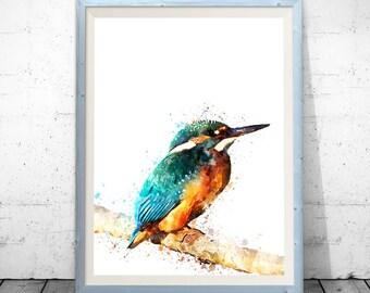 Bird watercolor, bird poster, bird art print, bird wall decor, bird lover gift, birds artwork, watercolor download, blue bird wall art