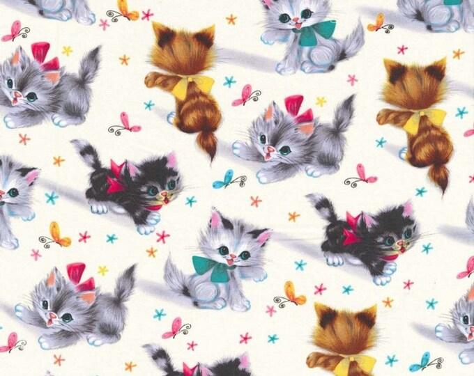 "KITTIES Cream Kitten Butterfly Cat Quilt Fabric - Remnant 30"" Long by 45"" Wide - Michael Miller 'Smitten Kitten'"