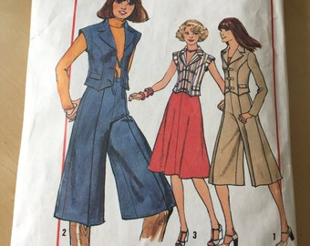 Simplicity #8144 - Size A (6 & 8) Misses' Skirt, Gauchos and Vest-Jacket Pattern