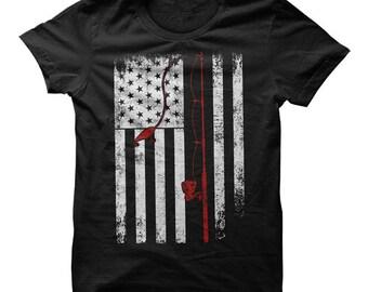 American Flag Fishing T-Shirt, Fish USA Shirt, Fishing American Flag Shirt, Fishing shirt, fishing lover gift, fishing tee, Fishing tshirt