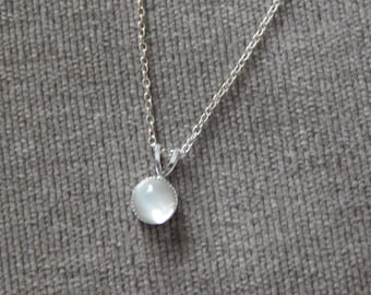 Moonstone Pendant, Sterling Silver Pendant, Moonstone Necklace, Dainty Pendant, Choice Of Chain Length