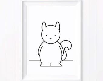 Sam Monochrome Squirrel. Monochrome Print. Squirrel Print. Monochrome Nursery. Black and White Art. Nursery Art. Monochrome Baby Gift.