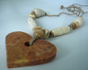 Soap Stone Heart Pendant Necklace - Bone Beads,  Fibre Cord -  Cone, Round Beads - Knotted