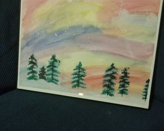 Hand painted original snowy Forrest