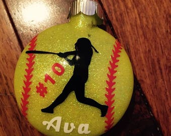 Softball Ornaments, Christmas Ornaments, sports ornaments
