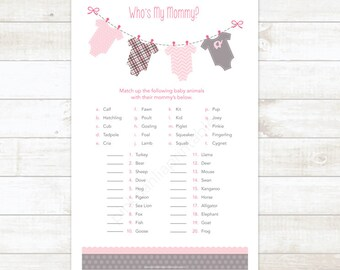 baby girl shower game printable pink clothes hanger matching game who's my mommy baby girl shower digital games - INSTANT DOWNLOAD