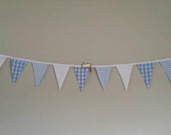 Fabric bunting flags pastel blue print checks