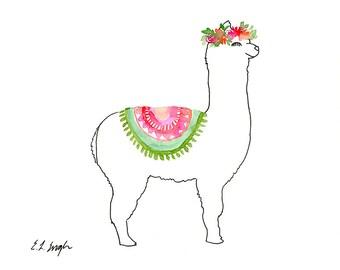 Watercolor Llama Illustration, nursery art, original watercolor, original art, nursery decor, baby llama, boho llama, boho nursery, boho art