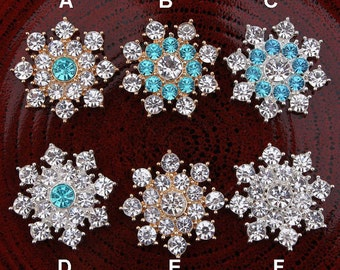 Elegant SNOWFLAKE Rhinestone Flat Back Embellishments For DIY Bling Accessories Christmas Snowflake Winter Snowflake Metal Snowflakes 24mm