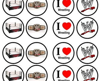 Wrestling Edible Wafer Rice Paper Cake Cupcake Toppers x 24