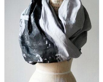 002 gray linen scarf print industrial building brooklyn