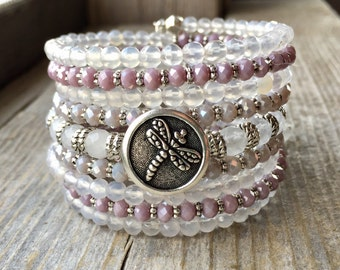 Dragonfly Dreams Multi Strand Memory Wire Bracelet With Dragonfly Button And Charms