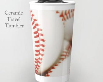 Baseball Travel Mug-Ceramic Travel Mug-Ceramic Mug-12 oz Tumbler-To Go Mug-Baseball Coffee Mug-Insulated Travel Mug-Personalized Mug