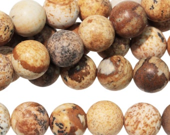 "Dakota Stones Picture Jasper 8mm Round Gemstones. 8"" Strand. PJR8RD-8"